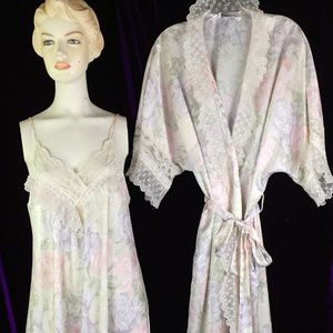 Robe Slip Set Floral Romantic Roses Victorian Lace